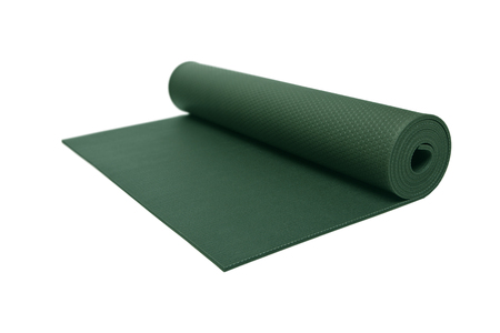 Rolled Green Yoga Mat Isolated photo