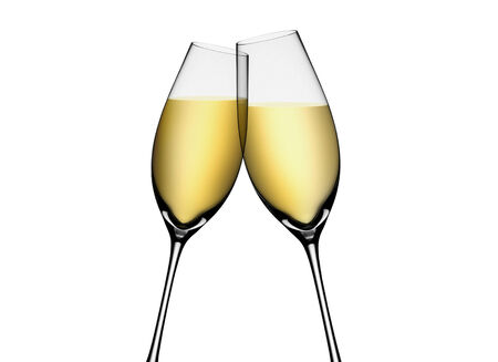 Two glasses of champagne. Isolated on white background photo