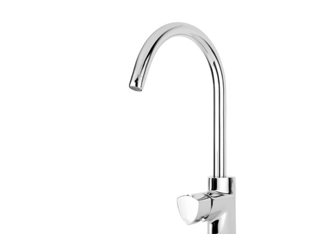 kitchensink: Modern stainless steel tap. Isolated on white background.