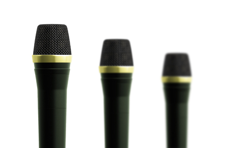 microphones isolated in white photo