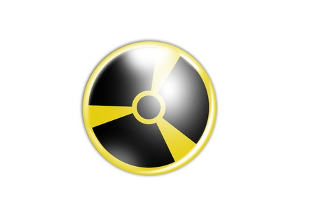 Radiation Sign in Circle on yellow with white background Stock Photo - 26219999