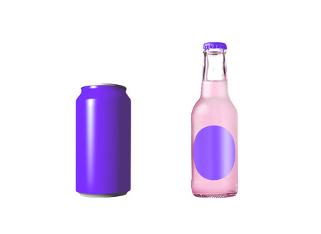 violet aluminum can with soda in glass bottle photo