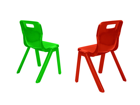 red and green plastic childs chair with reflection on white background photo