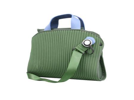 handlers: Green bag Stock Photo