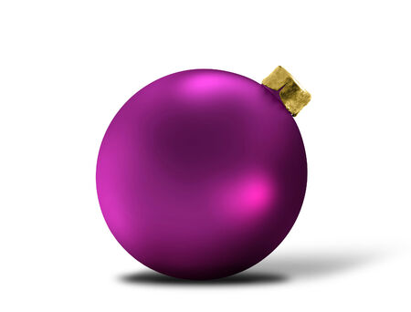 glittering purple christmas bauble over white photo