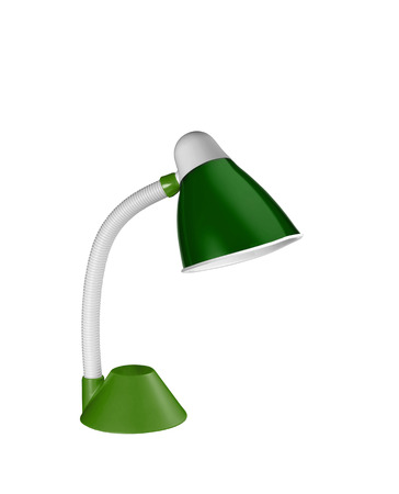 metalic green table lamp isolated on white background photo