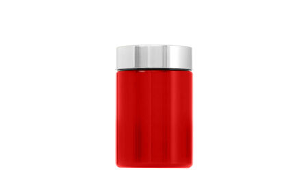 Empty red glass bottle standing on white background photo