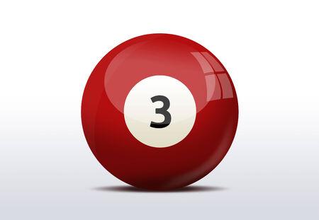 Number three billiard ball photo