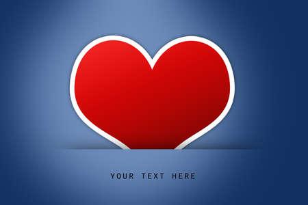 sample text: Coraz�n rojo en el suelo de fondo azul con texto de ejemplo