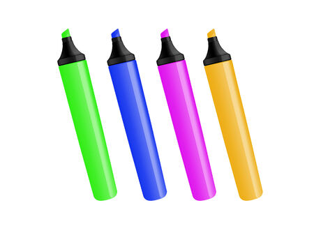 3d render of RGB markers on white background Stock Photo - 26225122