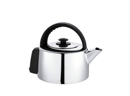 Modern metal teapot on a white background photo