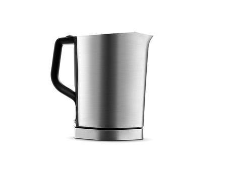 Stainless steel electric kettle isolated on white background photo