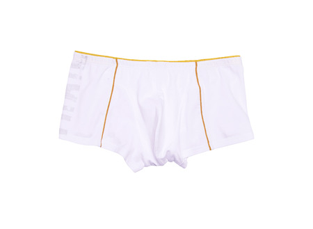 white men's briefs isolated on a white background photo