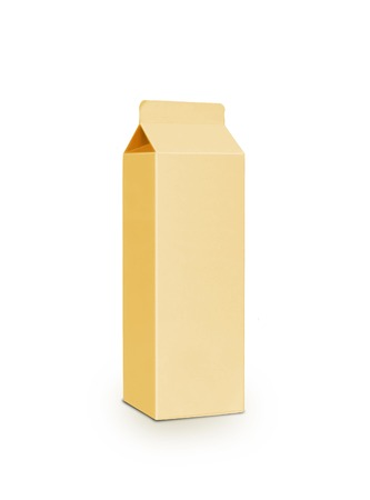 Yellow milk box per liter isolated on white photo