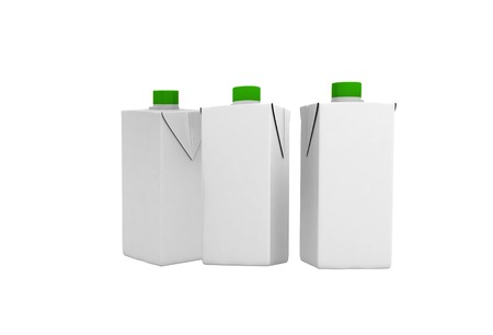 three blank tetra-brick packaging isolated on white photo