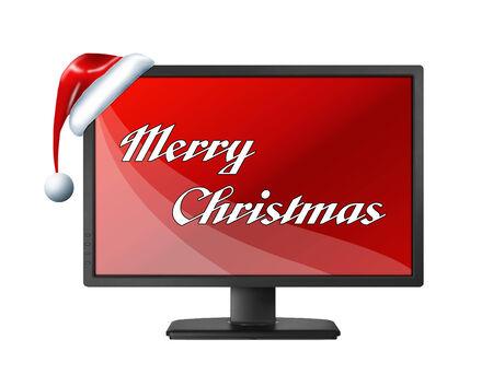 merry christmas text: Monitor con pantalla roja y el texto Feliz Navidad Foto de archivo