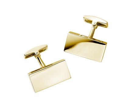 cufflinks: a pair of stainless steel cufflinks on white