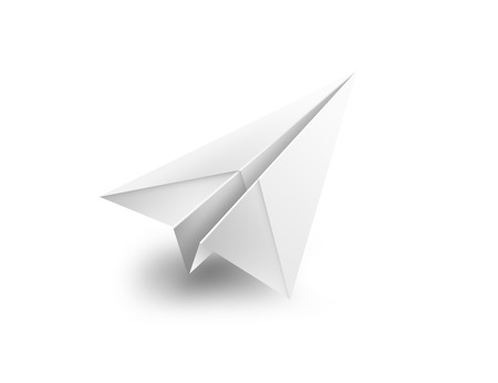 isolated paper airplane flying - 3d shape render illustration illustration