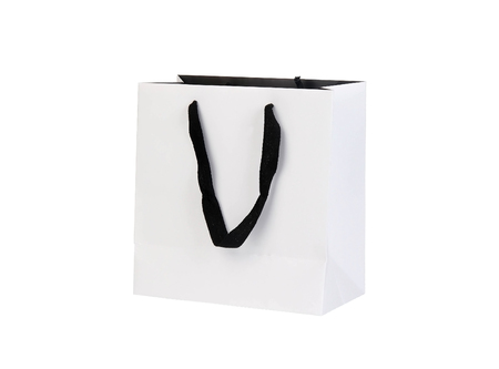 paperbag: White beamless paper-bag with cords on white Stock Photo