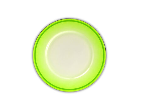 Green plate on white background photo