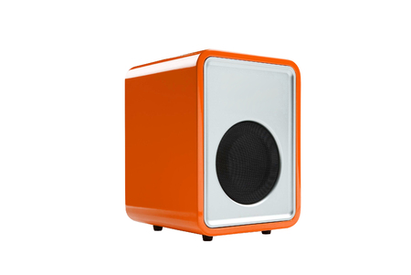 orange Radio receiver isolated on white background photo