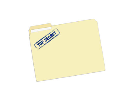 Image of a folder with a Top Secret stamp isolated on a white background. photo