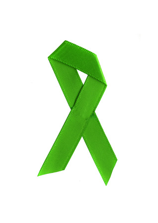 action fund: Green ribbon isolated on white