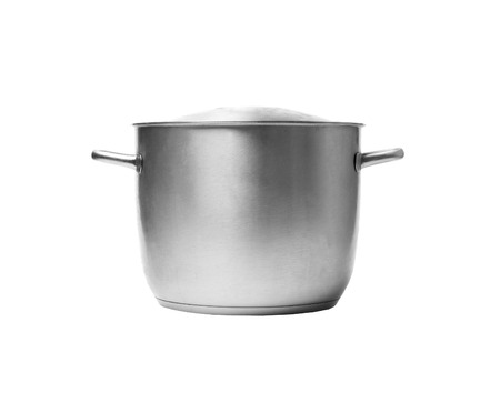 Stainless steel pot  Isolated on white background photo