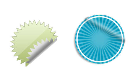 Green and blue round sticker or label