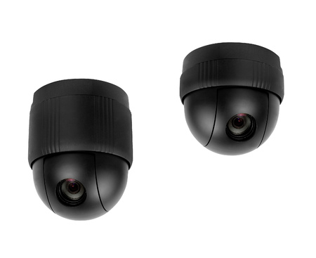 omnipresent: Omnipresent security camera video surveillance globe isolated