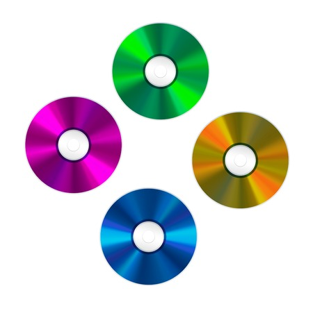 optical disk: four colored Compact Discs