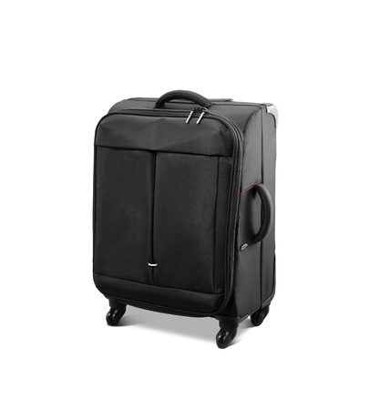 convenience: Modern convenience suitcase on casters