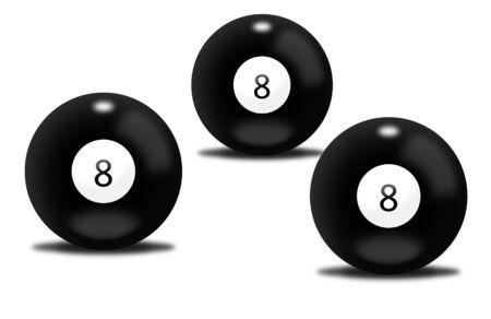shone: Black billiard balls number eight Stock Photo