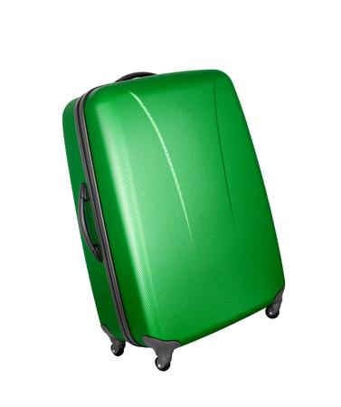 castors: green convenient suitcase on castors