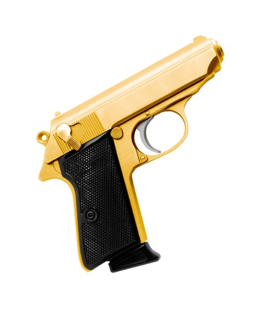 shot gun: Golden revolver gun isolated on white