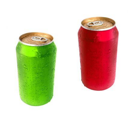 drink can: Aluminum green and red drink can