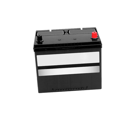 car battery: New 12V car battery isolated on white background