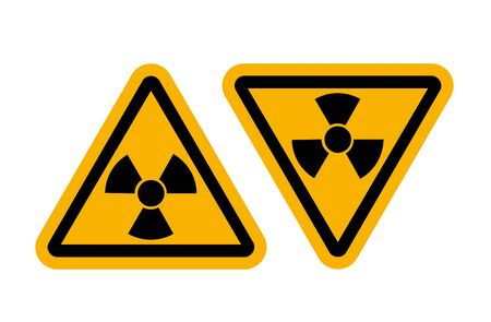 contaminated: Radiation signs with glossy yellow surface
