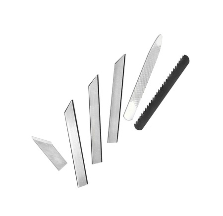 rustproof: set of various blades isolated on white background