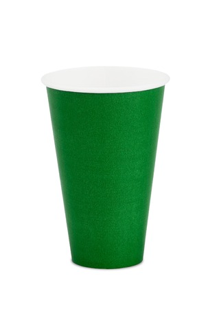 throwaway: green paper cup isolated Stock Photo