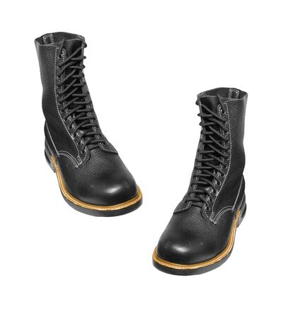 army boots: black army boots isolated on white Foto de archivo