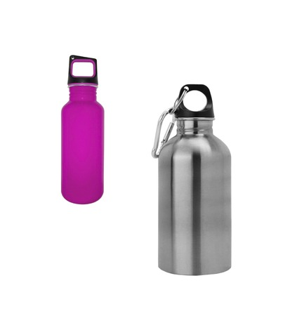 aluminium: Aluminium and purple flasks isolated on white background