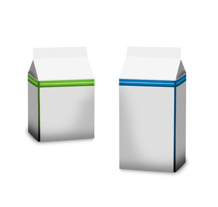 carton de leche: Dos paquetes de leche de cart�n sobre un fondo blanco