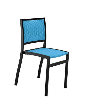 small articles: simple blue wood chair isolated on white shot