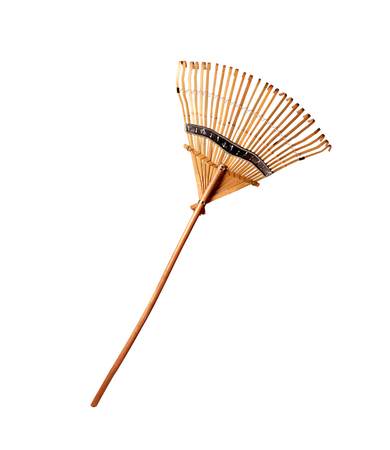 wooden rake isolated on the white background