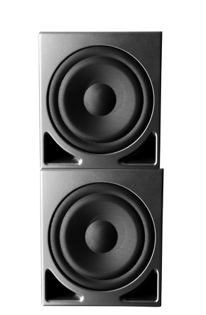 loud speaker: Great loud speakers isolated on white.