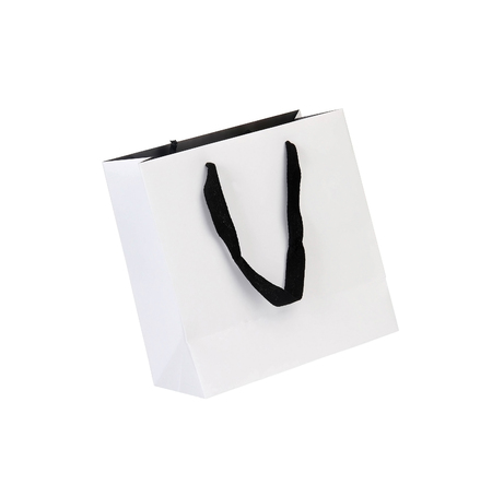 paperbag: White beamless paper-bag with cords.