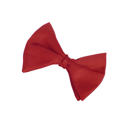 neck tie: Red tie-bow isolated on white