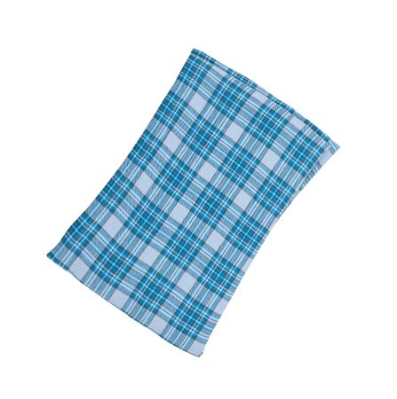 blue plaid: Blue plaid pillow isolated on white Stock Photo