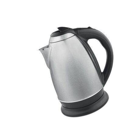 electric kettle: Stainless steel electric kettle isolated Stock Photo